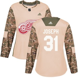 Women's Detroit Red Wings Curtis Joseph Adidas Authentic Veterans Day Practice Jersey - Camo