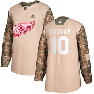 Men's Detroit Red Wings Ron Duguay Adidas Authentic Veterans Day Practice Jersey - Camo