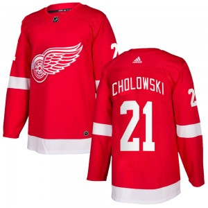 Men's Detroit Red Wings Dennis Cholowski Adidas Authentic Home Jersey - Red