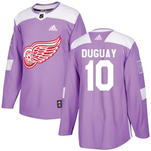 Men's Detroit Red Wings Ron Duguay Adidas Authentic Hockey Fights Cancer Practice Jersey - Purple