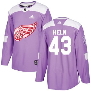 Men's Detroit Red Wings Darren Helm Adidas Authentic Hockey Fights Cancer Practice Jersey - Purple
