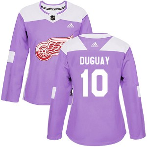 Women's Detroit Red Wings Ron Duguay Adidas Authentic Hockey Fights Cancer Practice Jersey - Purple