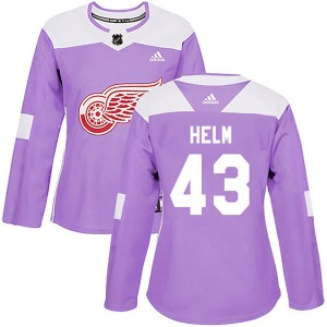 Women's Detroit Red Wings Darren Helm Adidas Authentic Hockey Fights Cancer Practice Jersey - Purple