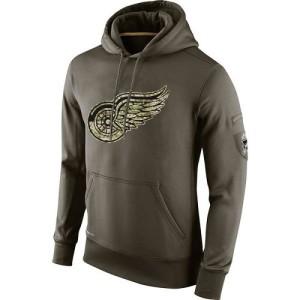 Men's Detroit Red Wings Nike Salute To Service KO Performance Hoodie - Olive