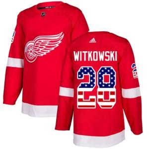 Men s Detroit Red Wings Luke Witkowski Adidas Authentic USA Flag Fashion  Jersey - Red fe03b5b4e
